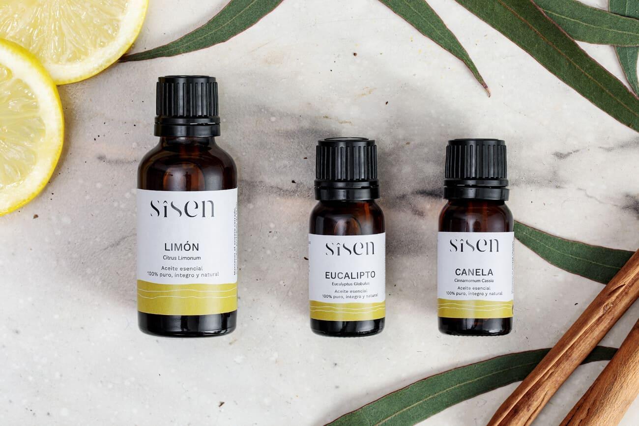 Aceite esencial de limón canela y eucalipto