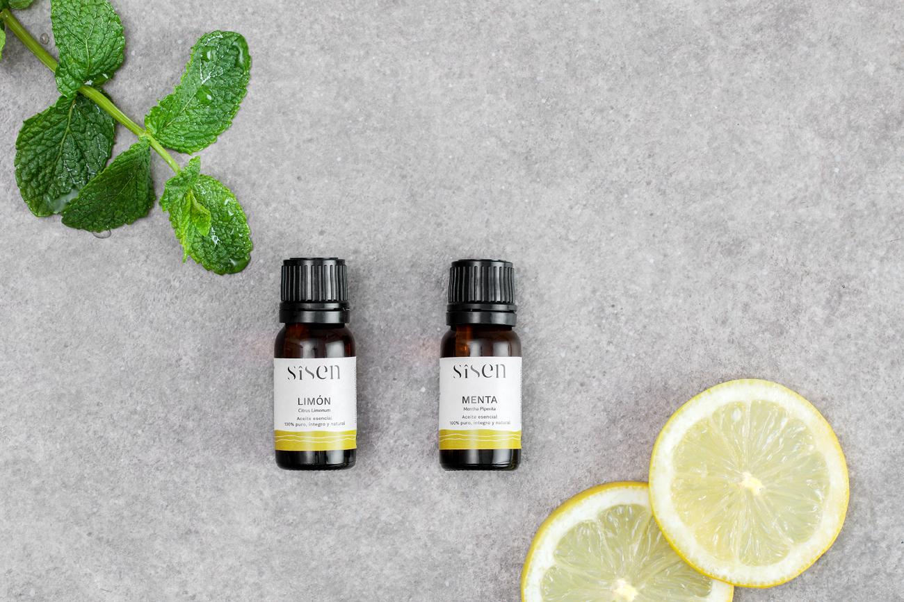 aceite esencial de limón y menta